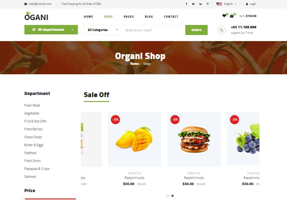 Ecommerce on Web by Ogani from UIGarage