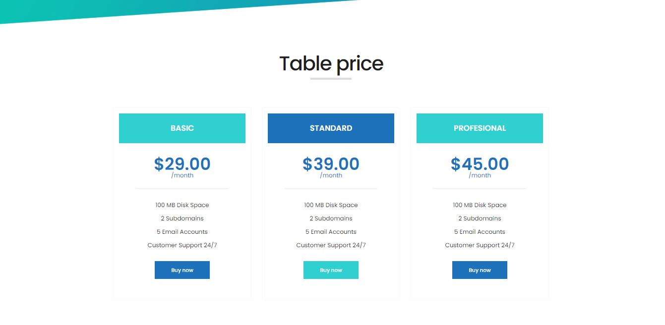 Prices on Web by Auricle free-css from UIGarage