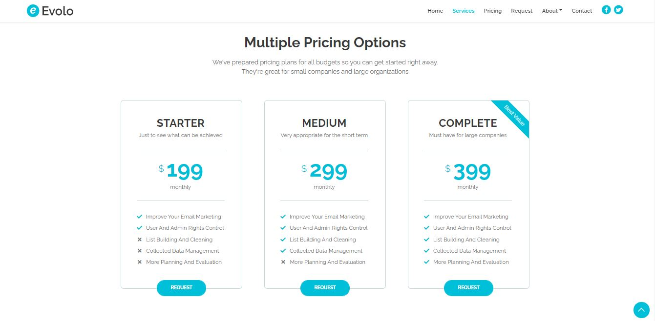 Pricing on Web by Evolo from UIGarage