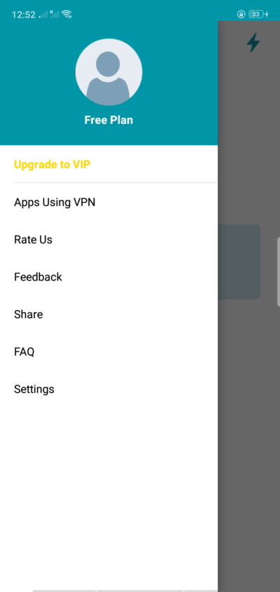 Slide Panel on Android by Thunder VPN from UIGarage