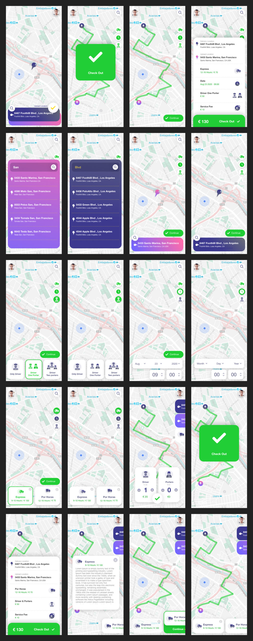 Delivery Truck App Free UI Kit for Adobe XD from UIGarage