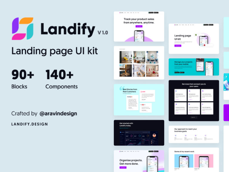 Landify - Free Landing Page UI Kit for Figma from UIGarage
