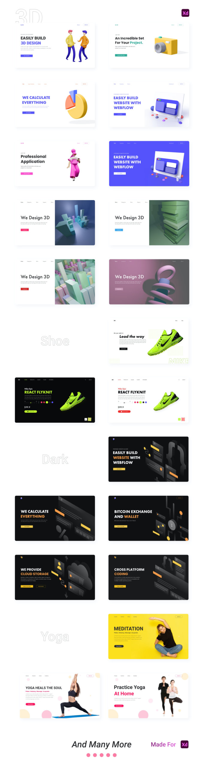 Landing Page Templates for Adobe XD from UIGarage
