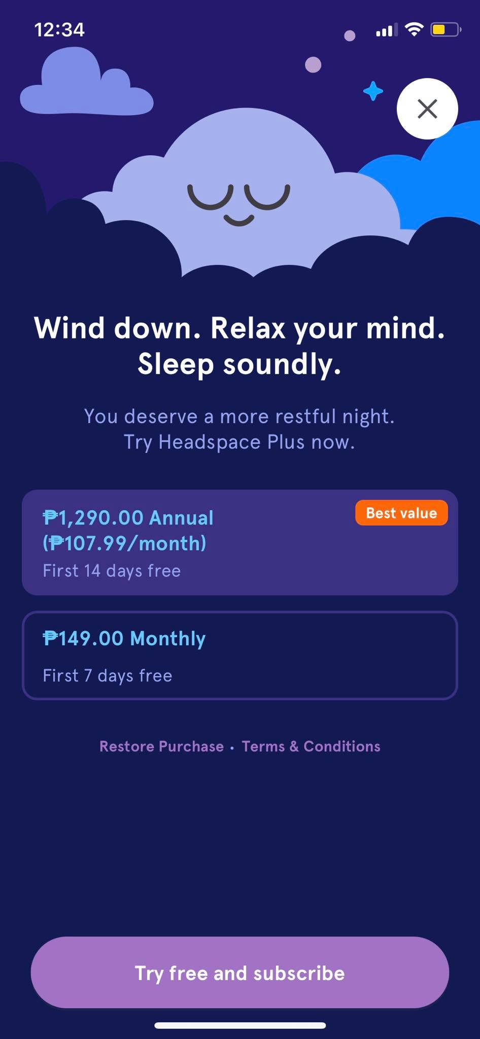 Pricing on iOS by Headspace from UIGarage