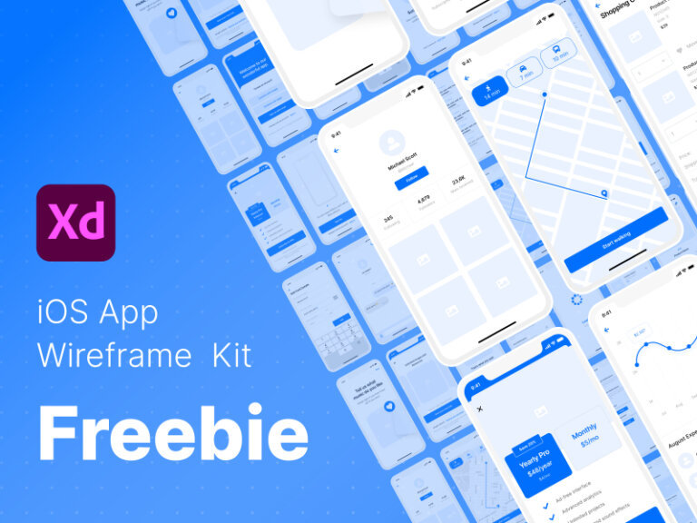 Free iOS 14 Wireframe UI Kit for Adobe XD from UIGarage