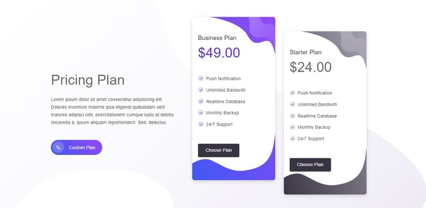 Pricing Plan on Web by Mobster from UIGarage