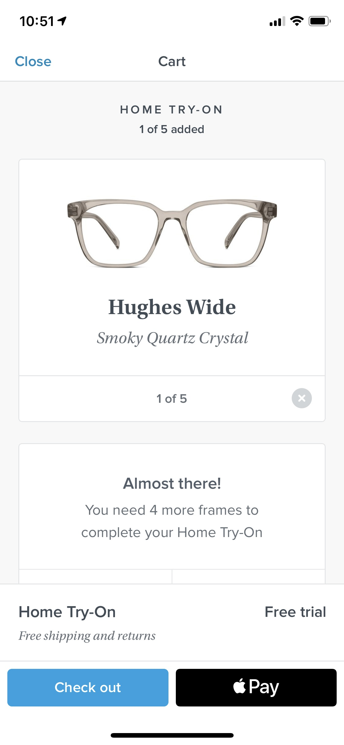 Cart on iOS by Warby Parker from UIGarage