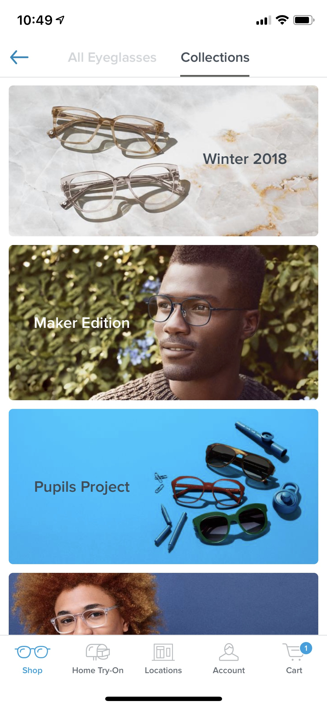 Categories on iOS by Warby Parker from UIGarage