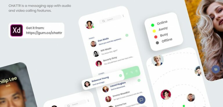 Chattr free XD UI kit from UIGarage