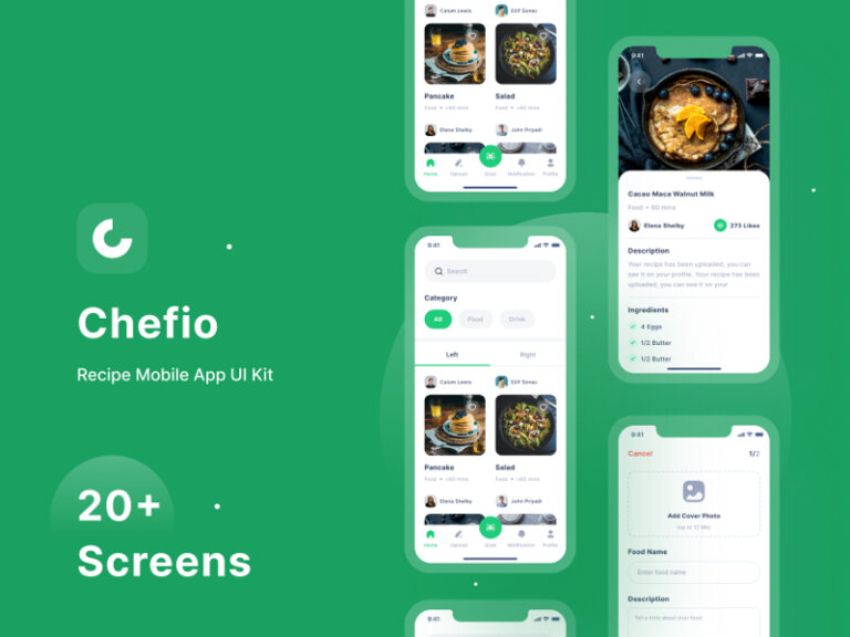 Chefio Recipe Free App UI Kit for Figma from UIGarage