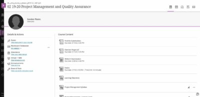 Course details on Web by Blackboard from UIGarage