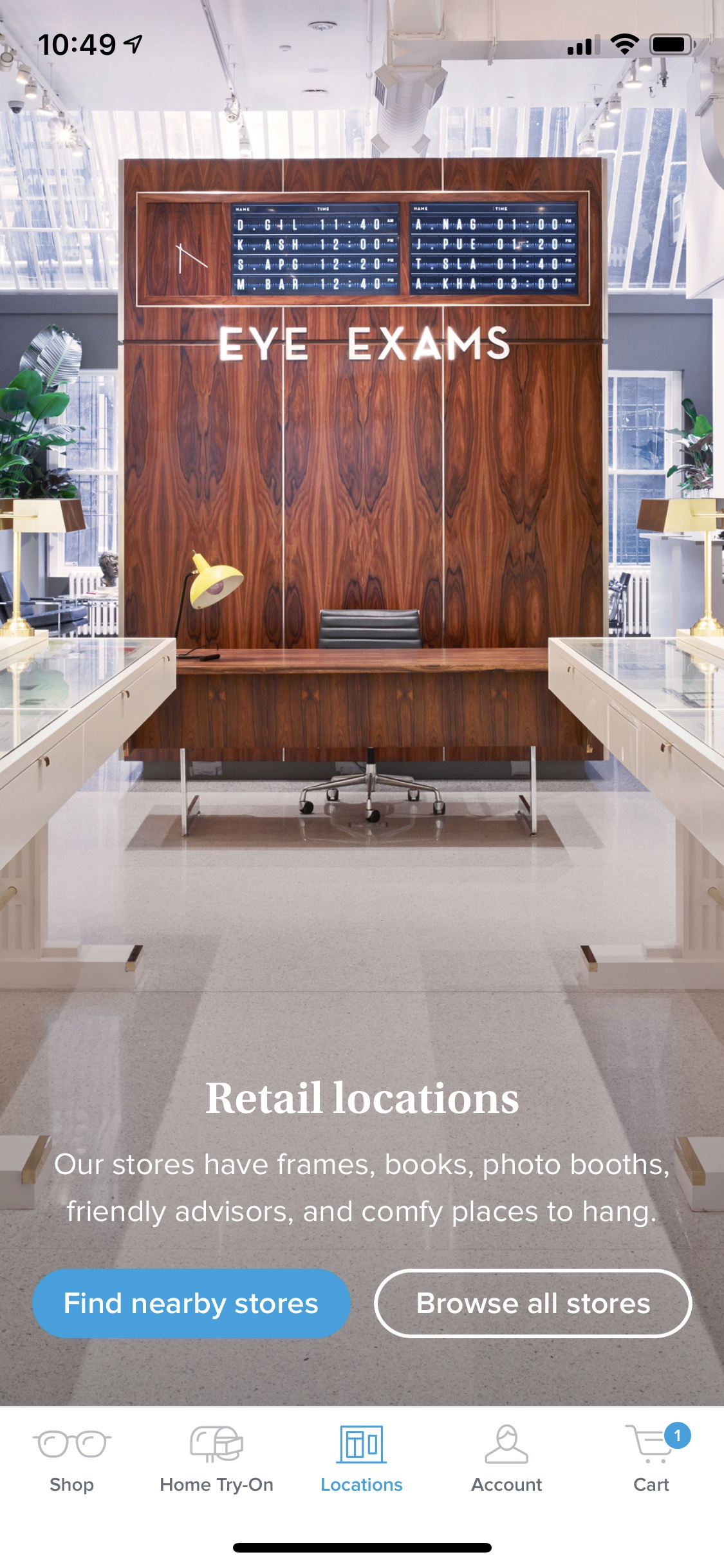 Locations on iOS by Warby Parker from UIGarage