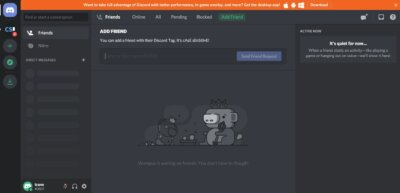 Homepage on Web by Discord from UIGarage