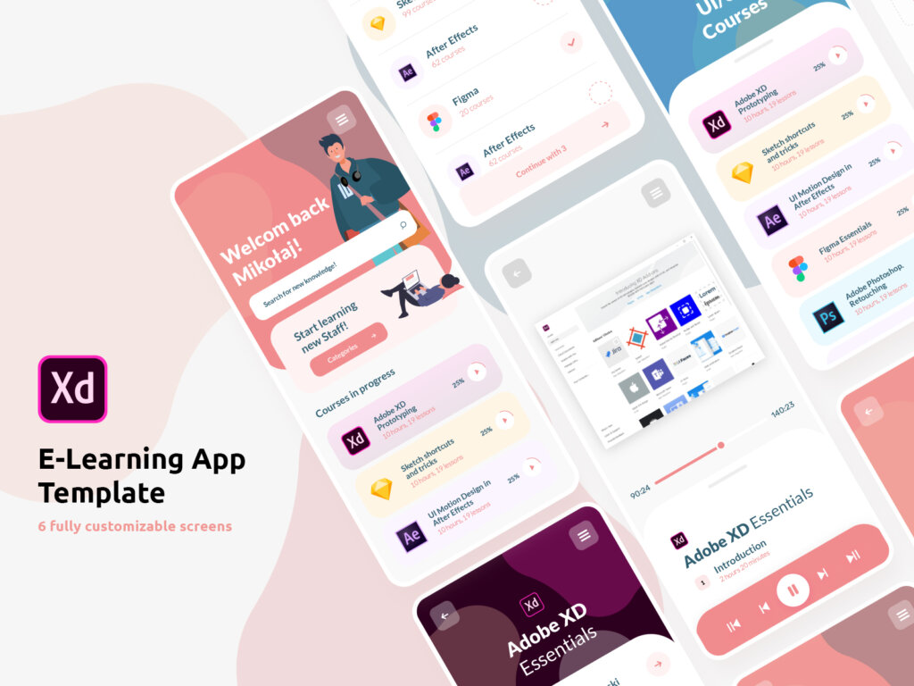 E-learning free XD UI kit from UIGarage