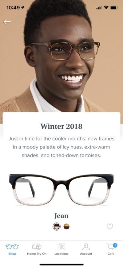 Product View on iOS by Warby Parker from UIGarage