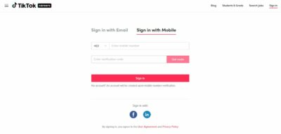 Login with Mobile on Web by TikTok from UIGarage