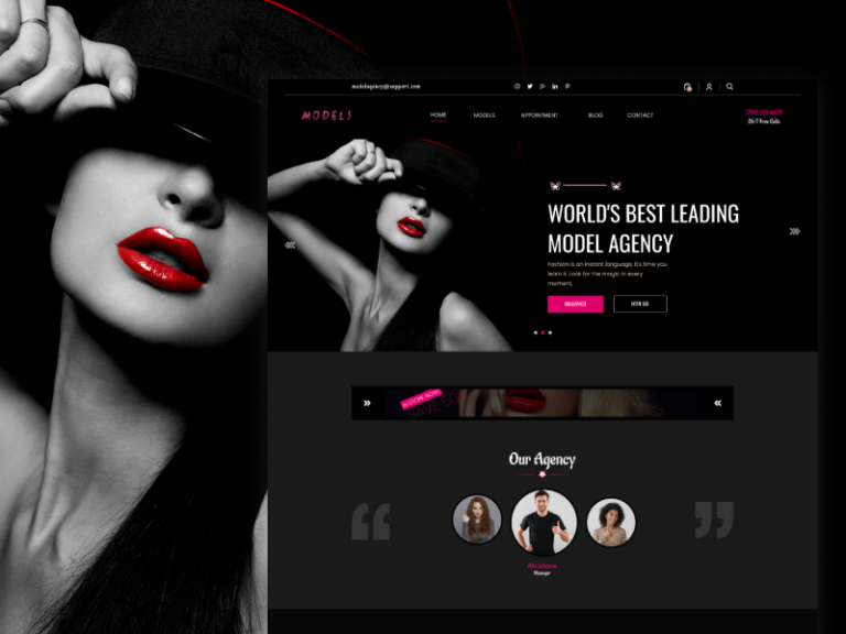 Models Agency Template from UIGarage