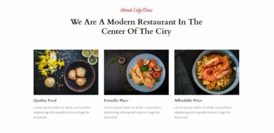 About Us on Web by CafeDine from UIGarage