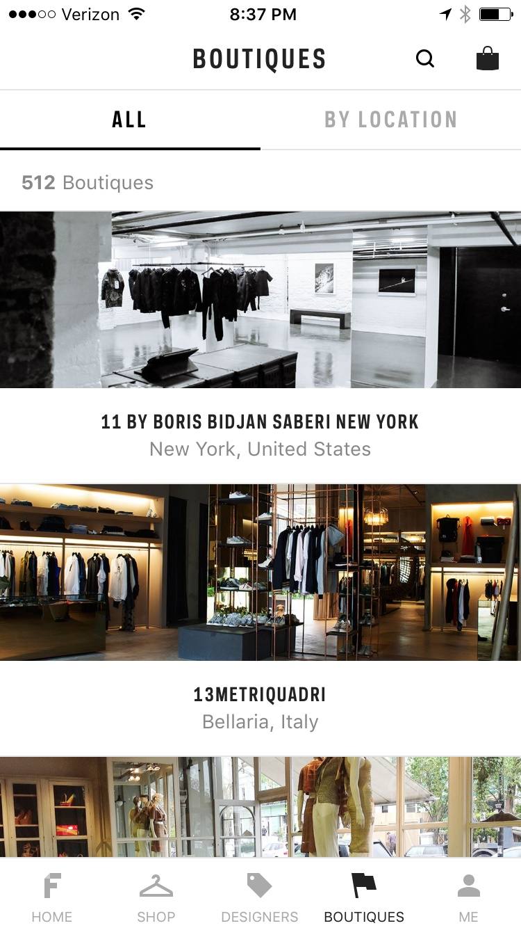 Boutiques on iOS by Farfetch from UIGarage