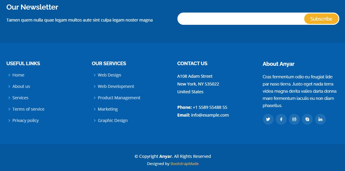 Footer on Web by Anyar from UIGarage