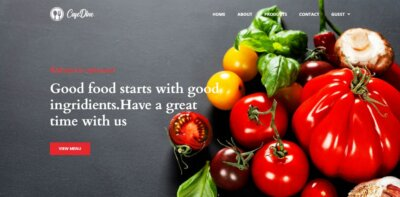 Homepage on Web by CafeDine from UIGarage