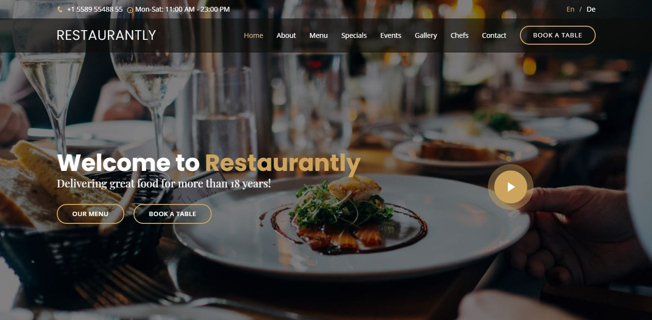 Homepage on Web by Restaurantly from UIGarage
