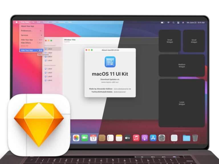 macOS 11 Big Sur Free UI Kit for Sketch from UIGarage