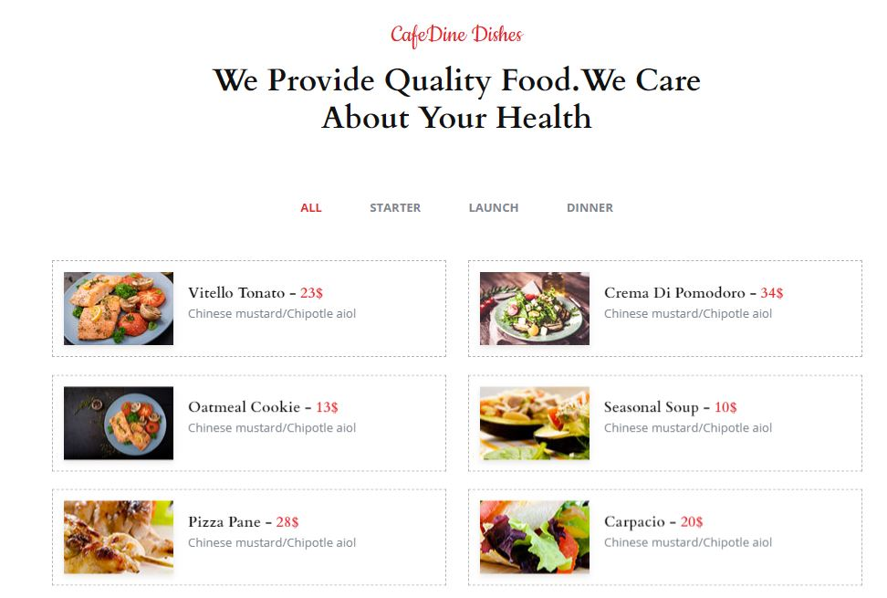 Products on Web by CafeDine from UIGarage