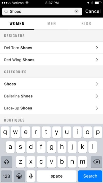 Search on iOS by Farfetch from UIGarage