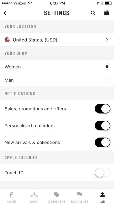 Settings on iOS by Farfetch from UIGarage