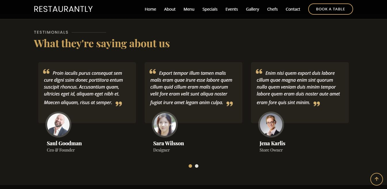 Testimonials on Web by Restaurantly from UIGarage