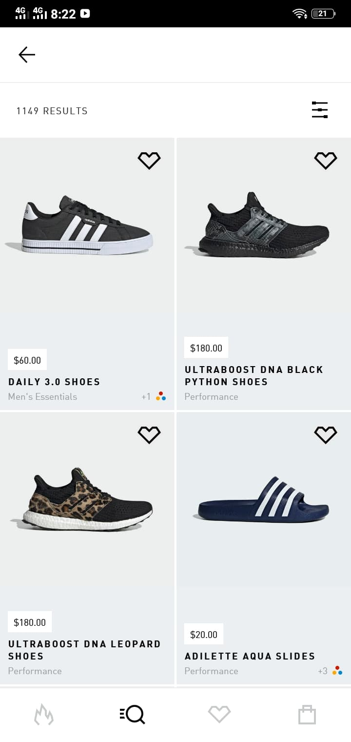 Product List on Android by Adidas from UIGarage