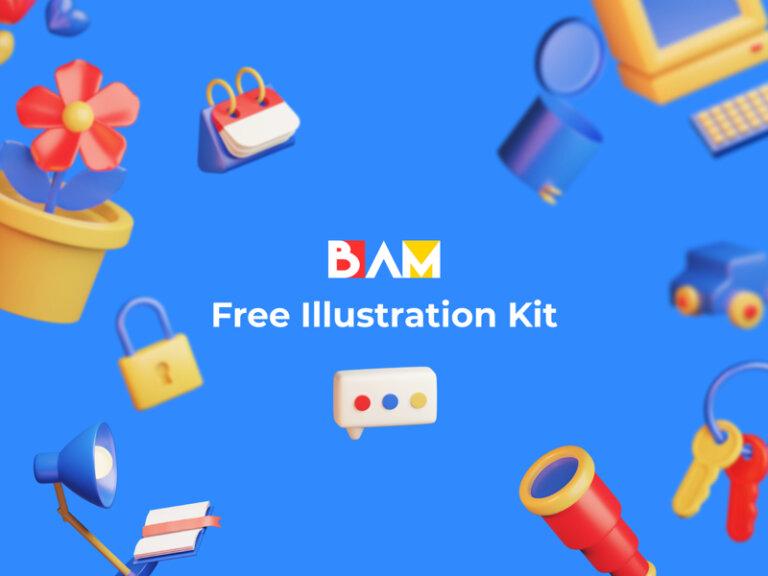 BAM Free 3D Illustration Kit from UIGarage