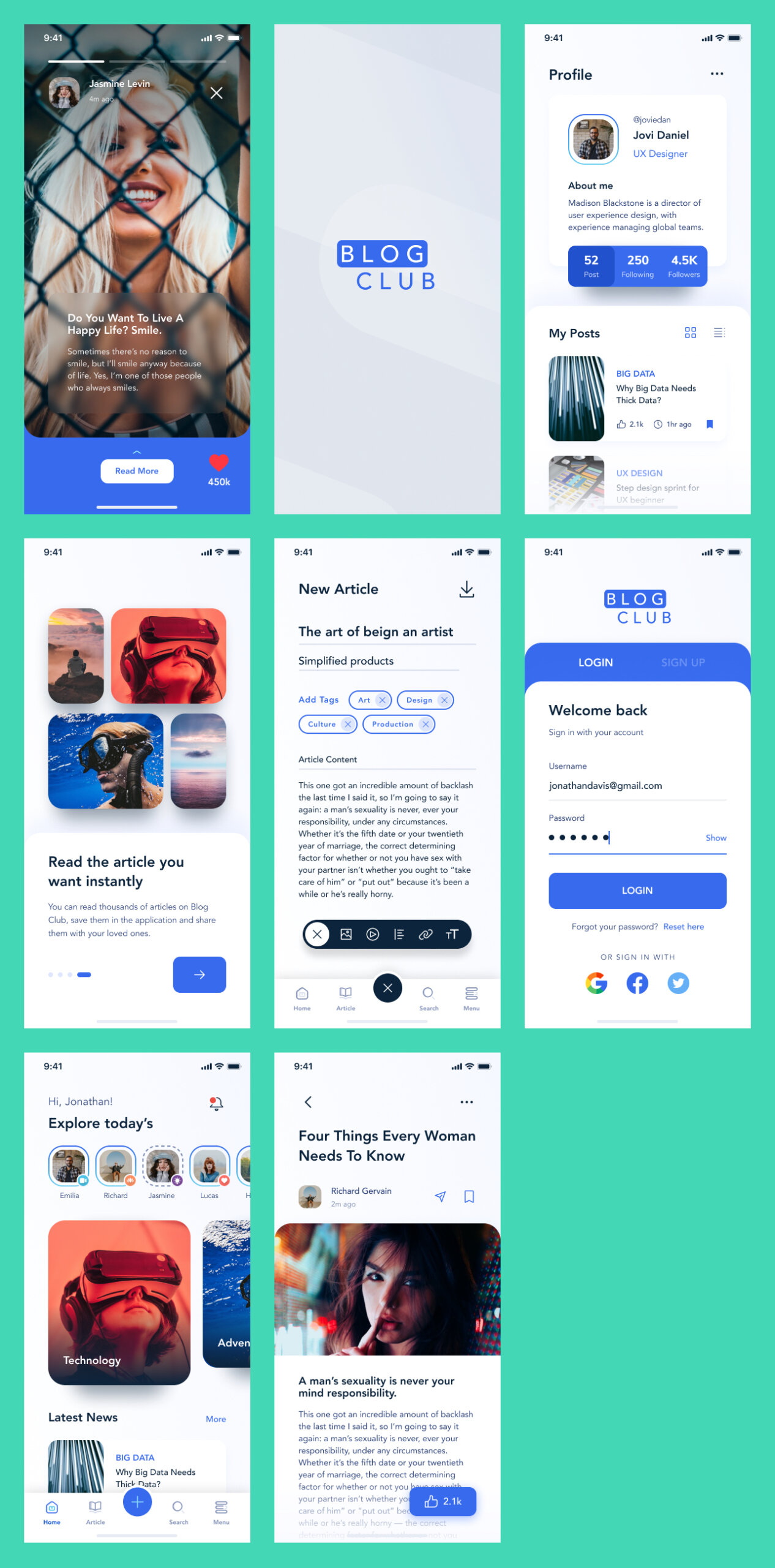 Blog Club Free UI Kit for Figma from UIGarage