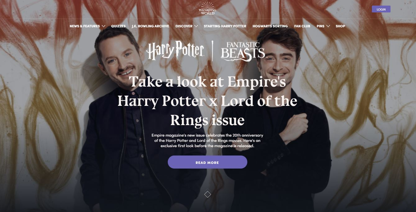 Homepage on Web by WizardingWorld from UIGarage