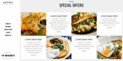Layout design on Web by Cuisines from UIGarage