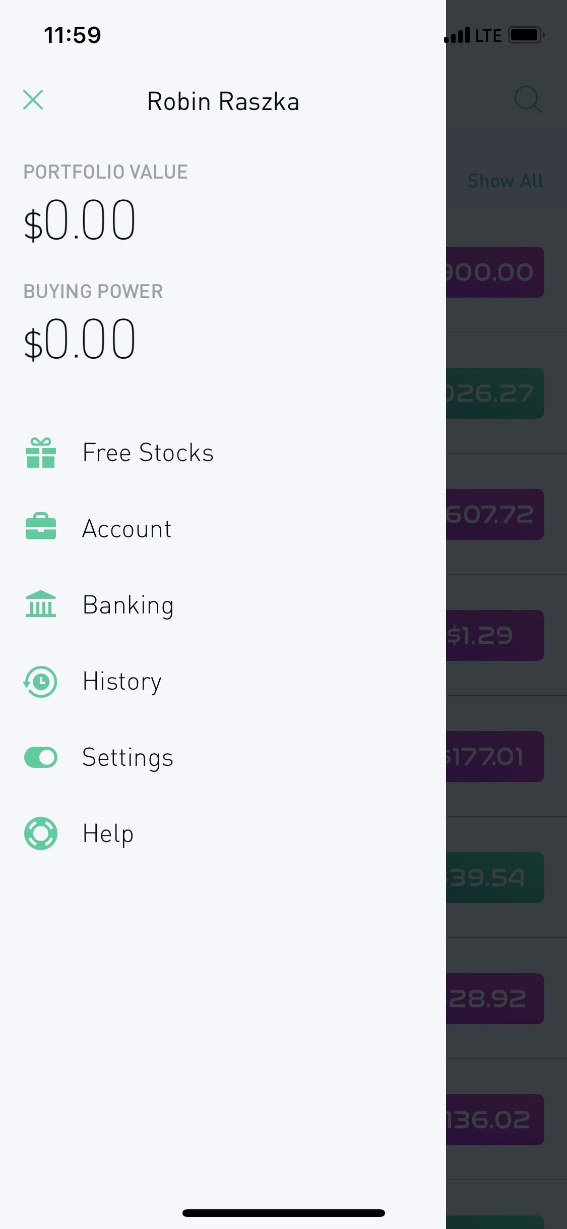 Menu on iOS by Robinhood from UIGarage