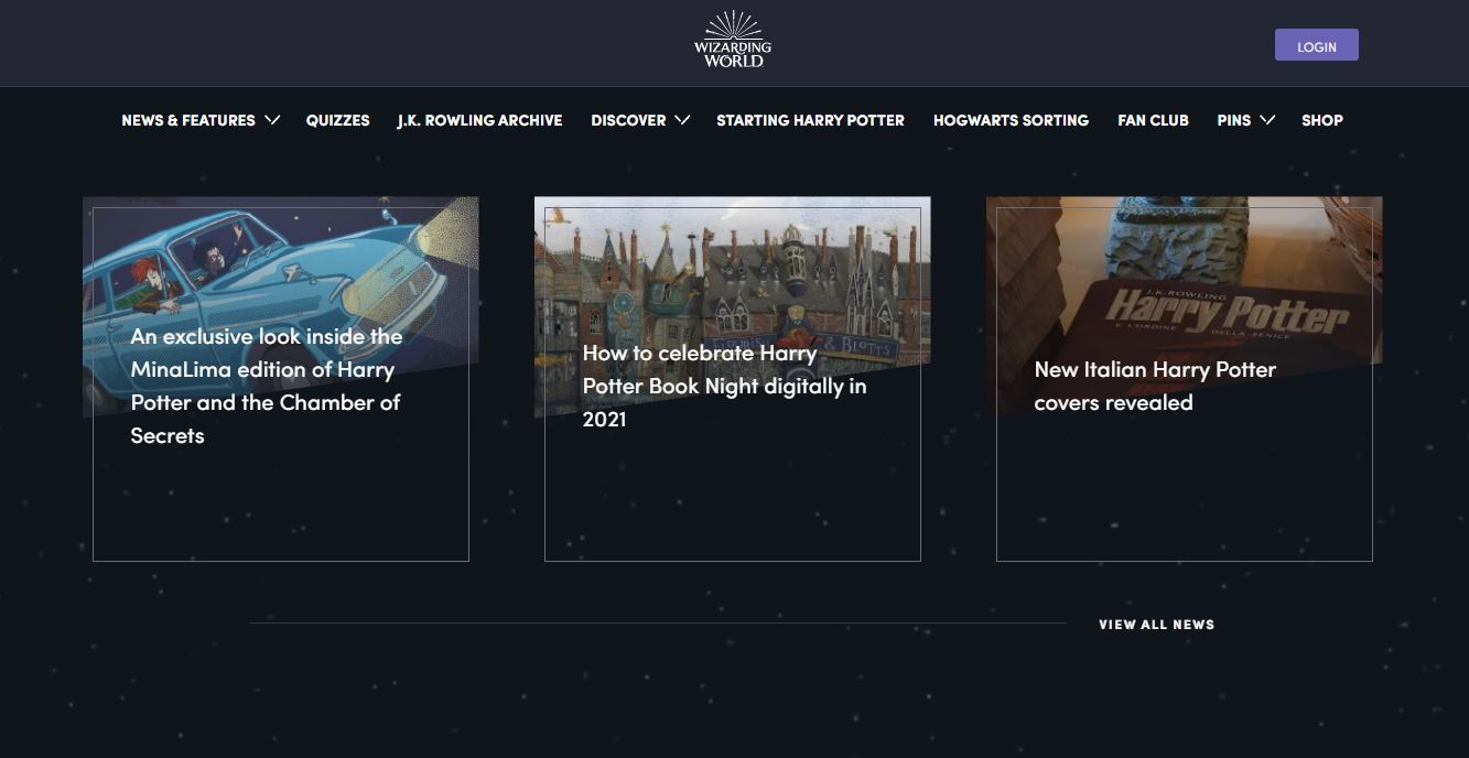 News on Web by WizardingWorld from UIGarage