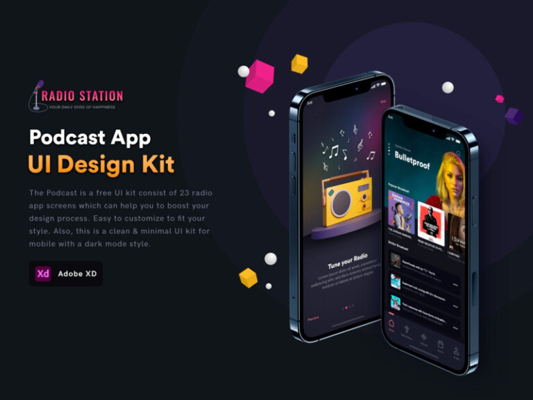 Podcast App Free UI Kit for Adobe XD from UIGarage