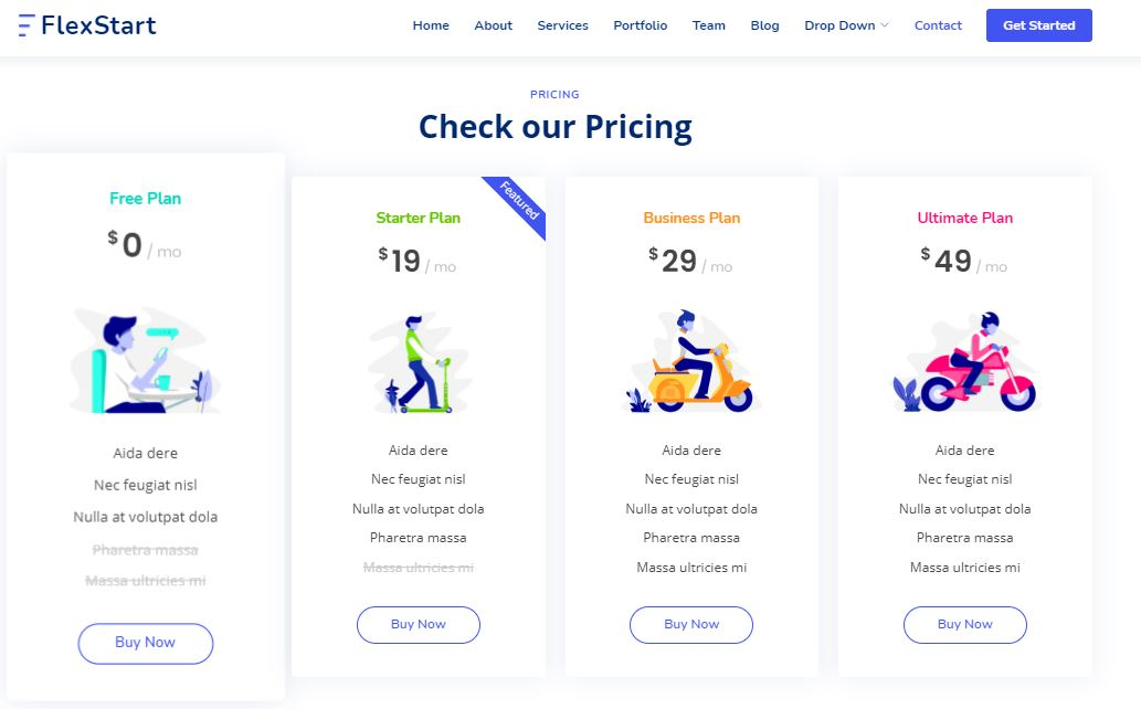 Pricing on Web by FlexStart from UIGarage