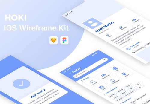 Hoki Mobile Wireframe Kit Free from UIGarage