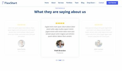 Testimonials on Web by FlexStart from UIGarage