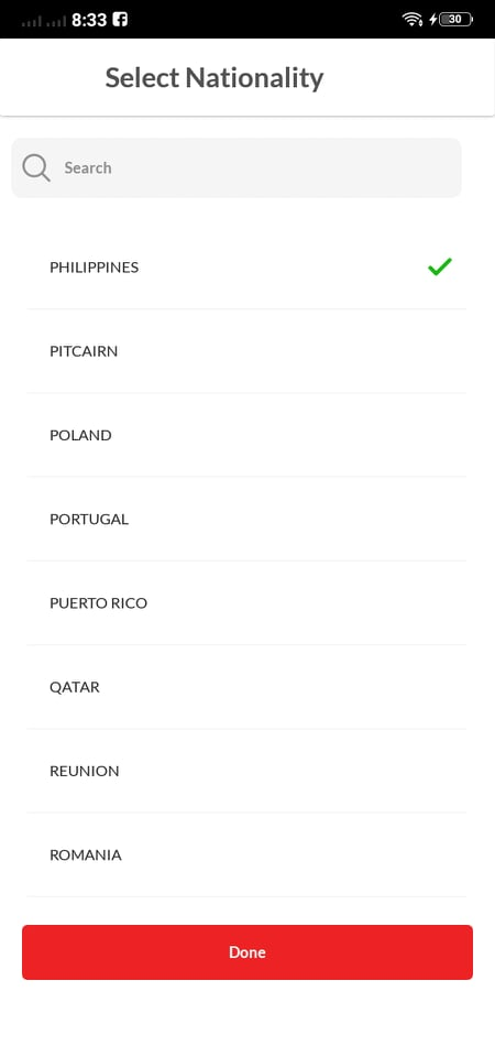 Country List on Android by RedDoorz from UIGarage