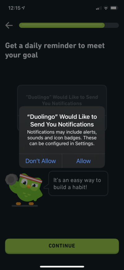Message Box on iOS by Duolingo from UIGarage