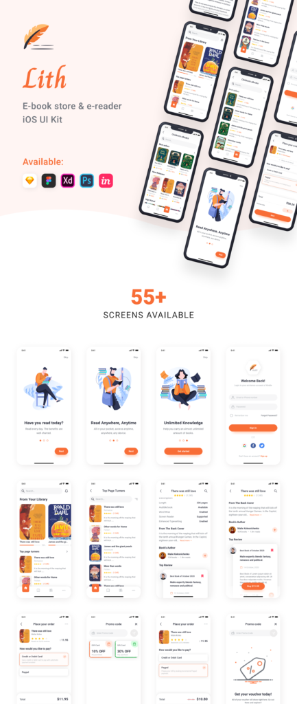 Lith - E-book store & E-reader App UI Kit Free Version from UIGarage