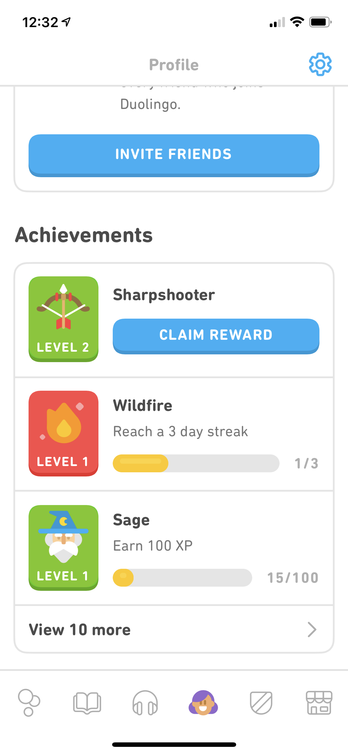 Achievements on iOS by Duolingo Plus from UIGarage