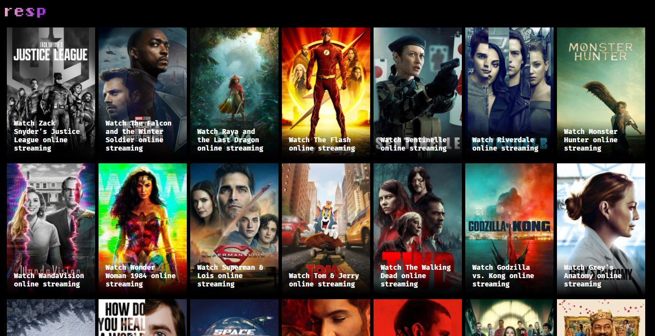 Movie List on Web by Resp.tv from UIGarage