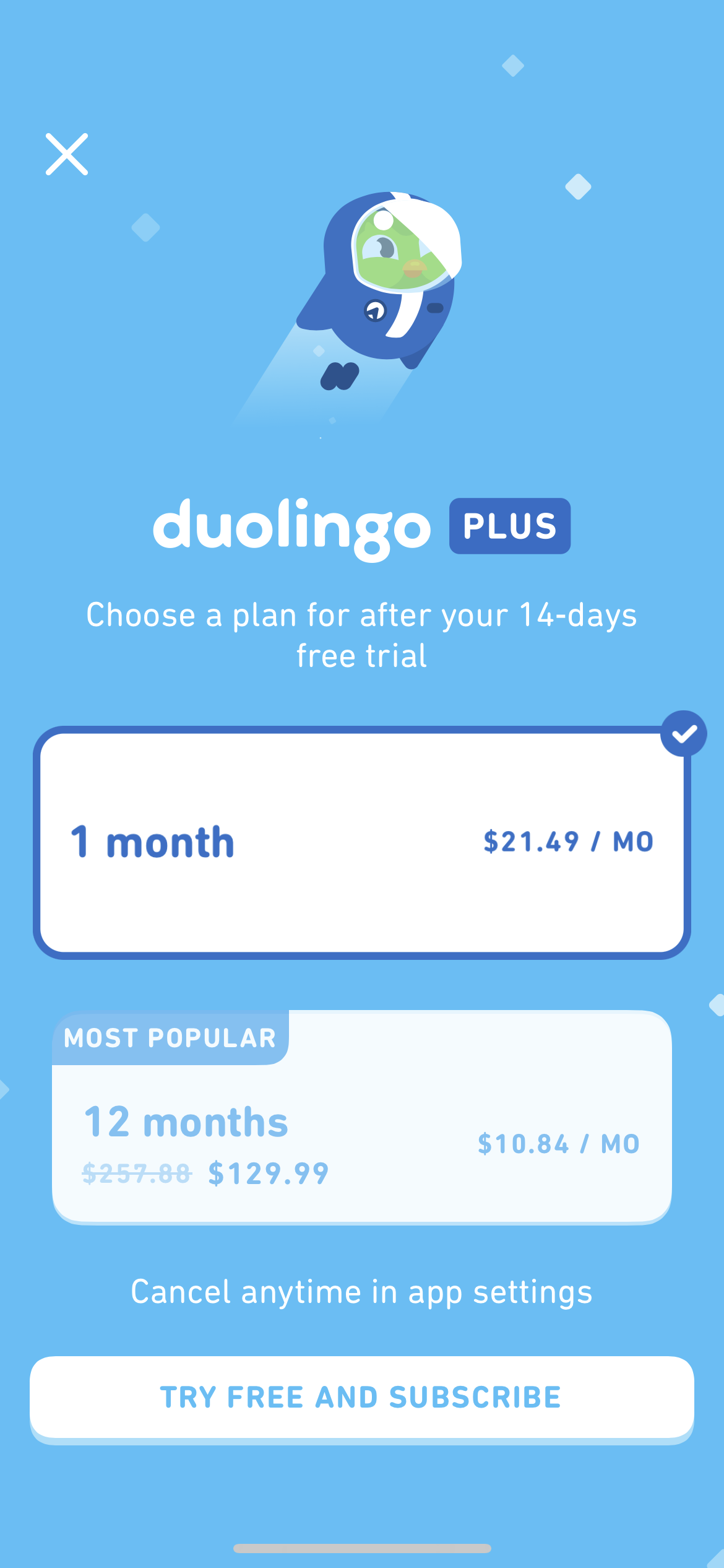Pricing on iOS by Duolingo Plus from UIGarage