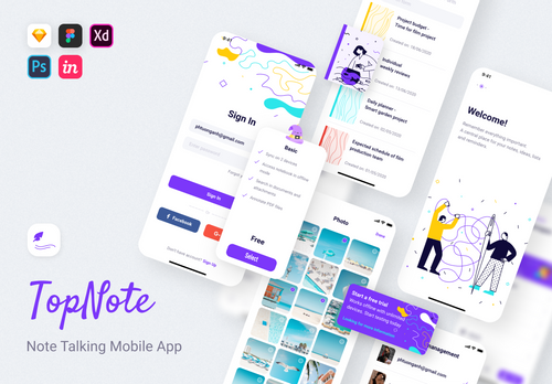 TopNote - Note Talking UI Kit XD from UIGarage