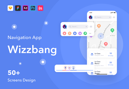 Wizzbang - Navigation App UI Kit Free Version from UIGarage